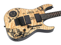 guitarra top natural venda por atacado-LTD Edição Limitada KH Ouija Natural Kirk Hammett Quilted Maple Top Guitarra Elétrica Reversa Headstock, Floyd Rose Tremolo, Ebony Fingerboard