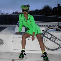 mangas de vestido de cor de menta venda por atacado-Novo Outono Metade Aberto Zip Collar Verde Menta Vestido Moda Feminina Casual Manga Comprida Em Linha Reta Cor Sólida Apertado Mini Vestido Z284