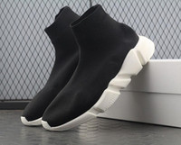 Wholesale chocolate sock online - Good Quality Red black Speed Trainer Casual Shoe Man Woman Sock Boots Stretch Knit Casual Boots Race Runner Cheap Sneaker High Top