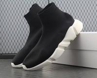 qualitäten guter schuh großhandel-Gute Qualität Rot schwarz Speed Trainer Freizeitschuh Mann Frau Socken Stiefel Stretch-Knit Casual Stiefel Race Runner Günstige Sneaker High Top