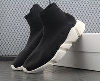 erkek çizmeler toptan satış-Kaliteli Kırmızı siyah Hız Eğitmeni Rahat Ayakkabı Adam Kadın Çorap Çizmeler Streç-Örgü Rahat Çizmeler Yarış Koşucu Ucuz Sneaker Yüksek Üst