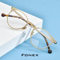 Wholesale titanium eyewear for men for sale - Group buy FONEX Pure Titanium Prescription Glasses Retro Round Eyeglasses Frame Men Optical Myopia Eyewear Eye Glass for Women Korean