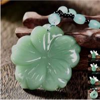 ingrosso collana fortunata del pendente della giada del buddha-Mescoli la pietra preziosa cinese Handmade naturale della giada che guarisce il cristallo intagliato Buddha Reiki dell'elefante Amuleto collana pendente fortunato fascino dei monili