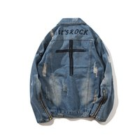 Wholesale cross jacket resale online - Mens Designer Jackets Fashion Oversize Loose Cross Embroidery Holes Denim Sleeve Zipper Design High Street Casual Outwear M XXL