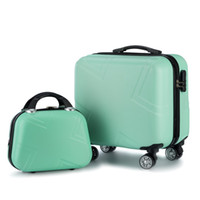 portátil carregando venda por atacado-KAWEIDA 2 PCS Carry on Travel Mala Mulheres Laptop Listra Padrão Pequena Bagagem 18
