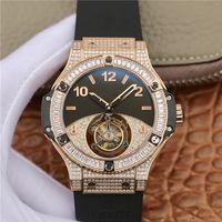 mens relógios impermeável esporte digital venda por atacado-mens de luxo relógios 44mm movimento mecânico de aço inoxidável relógios automáticos à prova d 'água homens esportes diamante relógio oco espelho de safira