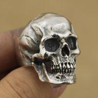 herren radfahrer ringe größe großhandel-Vintage Gothic Edelstahl High Detail Schädel Skeleton Ring Herren Biker Punk Ring uns Größe 7 ~ 14