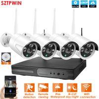 kamera sistemi kitleri toptan satış-4CH CCTV Sistemi Kablosuz 1080P NVR 4PCS 2.0MP IR Açık P2P Wifi IP CCTV Güvenlik Kamera Sistemi Gözetleme Seti