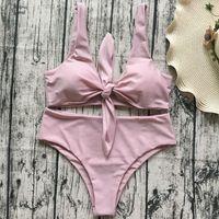 Wholesale hot chest women resale online - Hot Bikini Bathing Knotted Swimwear Women Swimsuit High Waist Chest Suits Push Up Brazilia Swim Biquinis Set Print Bikinis