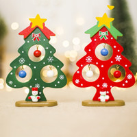 Wholesale mini wooden christmas tree decorations resale online - Christmas Tree Small Ornament Mini Painted Christmas Tree Decorations Wooden Card Year s Xmas Decor For Party