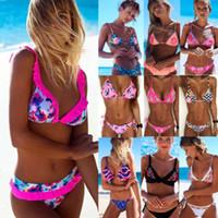 nuevo bikini de neón al por mayor-2018 Nueva Bikinis de flores Set Combinatorial Conjunto Sexy Traje de baño Push Up Acolchado Neon vendaje Trajes de baño Venta caliente Traje de baño