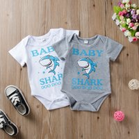 Wholesale boys shark sleeve resale online - Infants Baby Boy Designer style Onesies Bodysuit Romper Cute Cartoon Shark DOO DOO cotton Short sleeve Cheap Wholesaler