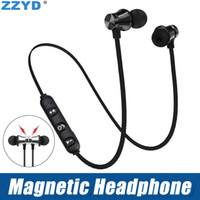 Wholesale ZZYD Magnetic Headphones Noise Canceling In Ear XT Headsets Bluetooth Wireless Earphones for iP8 s Max Samsung with Retail Box