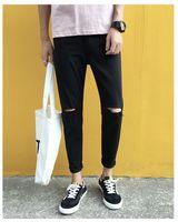 mens yeni moda kot siyah toptan satış-Yeni 2019 Moda Kore Ince Siyah Kot Erkekler Pantolon Delik Kalem Pantolon Mens Yırtık Biker Jeans Skinny Jeans Erkekler