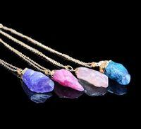 mavi kolye doğal taş toptan satış-Sıcak Satış Kaba Doğal Taş Kolye Kadınlar için Düzensiz Şekil Kristal Druzy Mavi Kolye Kuvars KolyeIrgesel doğal taş kolye