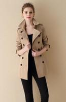 женские сапоги оптовых-NEW! Женская мода стиль бренда двубортный короткий плащ / высокое качество пояса slim fit хлопок траншеи для женщин размер S-XXL B6804F270