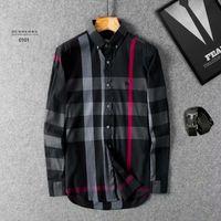 coreano vestidos longos venda por atacado-Atacado 2019 Nova Primavera Homens Camisa Treliça Projeto Estilo Coreano Casual Mens Camisas Xadrez Man manga Comprida vestido camisas dos homens tamanho L = EUA M