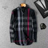 ingrosso manicotto lungo del vestito coreano-Commercio all'ingrosso 2019 New Spring Men Shirt Lattice Design stile coreano Casual Mens Camicie a quadri Uomo manica lunga abito camicie uomo taglia L = US M