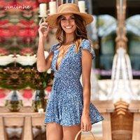 mavi çiçek şortu toptan satış-Yinlinhe Gevşek Mavi Çiçek Plaj Tulum Kadın Yaz Tulum Kısa Kollu Bohemian Seksi Kısa Tulum Kadın Tulum 808