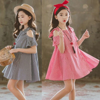 ropa de niña al por mayor-No Girls Dress Casual Red Black Plaid Flare Sleeve Princess Dresses For Young Baby Ropa para niños Moda