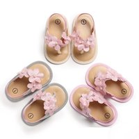 Wholesale baby girl cute sandals resale online - Baby Girls thong sandals colors flower immitation pearls decoration summer shoes Toddlers cute slip on sandals m summer new