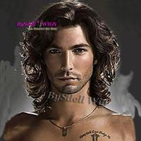 peluca de longitud media marrón oscuro al por mayor-Hombre largo rollo rizo huevo mediano peluca del peinado sintético del hombro de color marrón oscuro longitud euro americanos hombres blancos pelucas peinado
