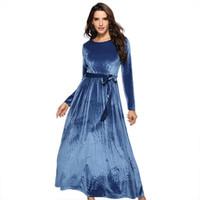 ingrosso abito blu maxi velluto-Fashion Maxi Dress Velluto Donna 2019 Autunno O collo Fit maniche lunghe Bow Blue Party Abiti eleganti abiti vintage