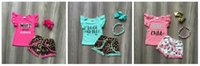Wholesale baby girl matching outfits for sale - Group buy new Summer baby girls children clothes pom pom shorts wild child about Jesus leopard outfits ruffles boutique match