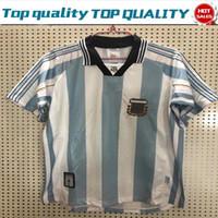 kısa futbol takımı toptan satış-1998 Retro sürüm Arjantin Ev Futbol Gömlek Yetişkin Kısa Kollu Için 97/98 Futbol Forması Milli Takım Özelleştirmek Oyun Üniformaları Boyutu S-2XL