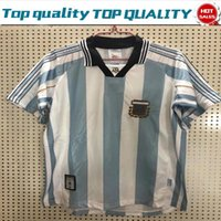 Wholesale football jerseys for teams resale online - 1998 Retro version Argentina Home Soccer Shirt For Adult Short Sleeve Football Jersey National Team Customize Game Uniforms Size S XL