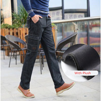 619921bef1e5 fleece lined jeans NZ - Winter Thermal Warm Flannel Lined Stretch Jeans  Mens Comfortable Fleece Trousers