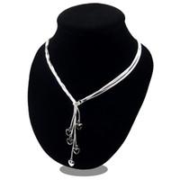 bijoux silber groihandel-Sterling-Silber-Schmuck Collier 925 Silber 2019 Halskette für Frauen Aussage Herz Anhänger Schmuck Collares Colar Bijoux Gliederkette FS34