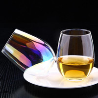 Wholesale lead crystal glasses resale online - 20oz Lead free Crystal Egg Cup Wine Glass Tumbler Modern Large Capacity Ion plated Rainbow Transparent Household MMA1747