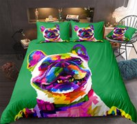 Wholesale colorful pet beds for sale - Group buy 3D dog bedding set pet kids duvet cover with pillowcase boys quilt cover colorful pug green home textiles king dropship cartoon