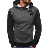 zipper diagonal do hoodie venda por atacado-Moletom com capuz homens novos homens com zíper diagonal para mangas compridas casuais