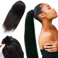 Wholesale brazilian remy ponytail resale online - Beau Diva Straight Ponytail Human Hair Drawstring Ponytail With Clips in For Women Remy Brazilian Virgin Hair Piece
