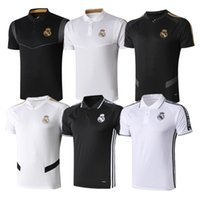 Wholesale 2019 Real Madrid Polo White Soccer Jersey Real Madrid HAZARD Black POLO Shirt RAMOS MODRIC ASENSIO ISCO Football POLO Uniforms