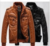 Wholesale leather thickness for sale - Group buy New Men s leather jacket coat thickness and velvet man leather male cultivate one s morality locomotive coat large