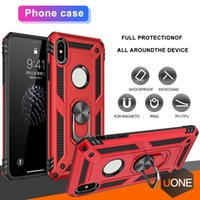 Wholesale rugged cars online - New For Samsung Galaxy S10 S10 Plus Hybrid Rugged Shockproof Armor Stand Case For Iphone X XS max Metal Ring Magnetic Car Holder Cover Cases