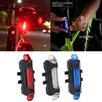 comprar luz vermelha venda por atacado-Bicicleta 5-LED 4 Modo Vermelho Frente Cauda Luz de Aviso Da Bicicleta Ciclismo Aviso Lâmpada À Prova D 'Água Frete Grátis