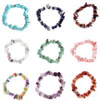 Natural Healing Crystal bracelet Sodalite Chip Gemstone 18cm Stretch Bracelet Natural Stone luxury designer jewelry women bracelets A0186