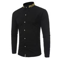ingrosso camicie con colletto-Camicia a maniche lunghe da uomo in camicetta a maniche lunghe con collo a maniche lunghe da uomo