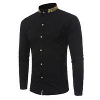 camisa de cuello mandarín para hombre al por mayor-Nueva primavera, otoño, camisa para hombre, manga larga, cuello alto, camisa para hombre, slim fit, botón, ocasión formal, camisas