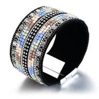 bracelete de pulseira de couro de strass venda por atacado-35mm de largura mulheres marrons pedras completas tênis de couro pu pulseira de pulso pulseira strass incrustação
