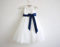 ingrosso vestito da bow navy 4t-Flower Girl Dress Little Girl Princess Blu scuro Gonna in pizzo gonna damigella d'onore per occasione formale di matrimonio Wish Sash Princess Bow Brithday