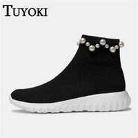 perle schuhe damen größe großhandel-Tuyoki Wanderschuhe Damen Knitting Pearl Sneakers Tägliche Schuhe Atmungsaktives Kissen Sport Warm Damen Zapatos Größe 34-39