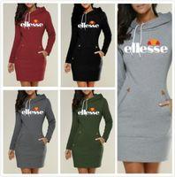 hoodie türleri toptan satış-Moda-İnce Tip Elbise Popüler Hoodie Ellesse Kapşonlu Yüksek Yaka Kadınlar Uzun Kollu Kazak