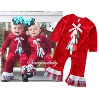 navidad ropa bebé niña roja al por mayor-Ropa de diseño para niños INS Rojo de manga larga con volantes Lazo de Navidad Mamelucos Monos Primavera Otoño Ropa de niña RRA1706