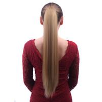 hairpiece für ponytail groihandel-Multi Color lange Gerade Synthetic Pferdeschwanz mit Greifer-Klipp-Haar-Verlängerung Günstige Styling-Pony-Endstück Toupet