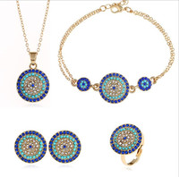 schwarze prom ohrringe großhandel-Summer Statement Türkei Blue Eyes Jewelry Set Halskette Ohrringe Stud Ring Armband Bohemian Vintage Jewelry Sets für Frauen